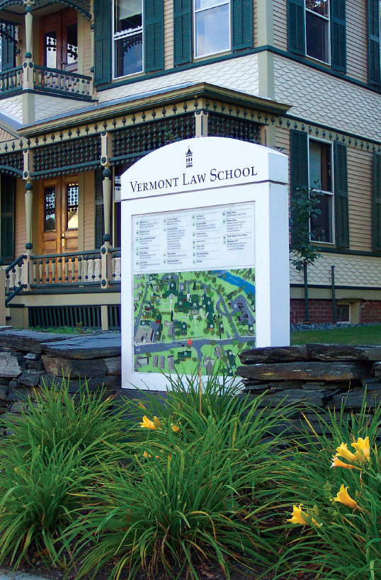 "Vermont Law School ""Bird's-Eye View"" Campus Maps for Exterior Display Cases"