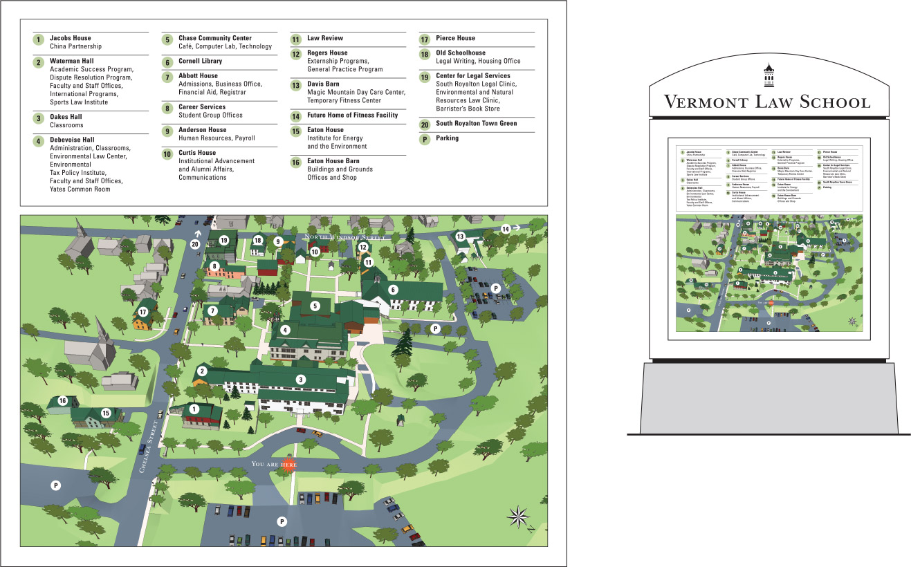 """Vermont Law School """"Bird's-Eye View"""" Campus Maps for Exterior Display Cases"""
